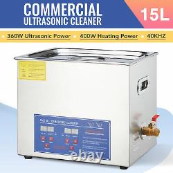 15L Professional Ultrasonic Cleaner Electric Commercial Ultrasound Cleaner 110V