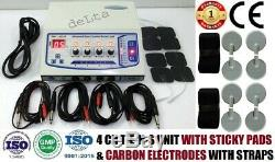Professional use 4 Ch Electrotherapy Sticky Pads & Carbon Pads Pulse Massager
